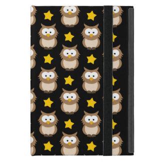 Étui iPad Mini Hiboux adorables d'arbre et étoiles d'or sur le