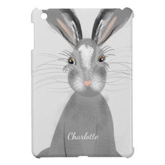 Étui iPad Mini Illustration fantaisie de lièvres gris mignons