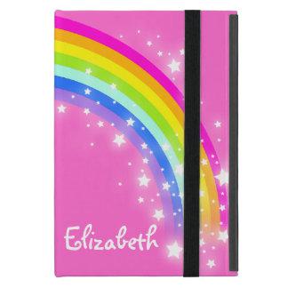 Étui iPad Mini L'arc-en-ciel badine le cas rose nommé de filles
