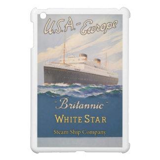 Étui iPad Mini Ligne blanche Britannic poster vintage d'étoile