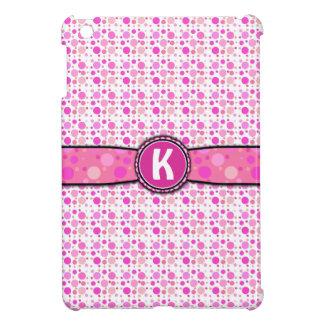 Étui iPad Mini Motif rose Girly de monogramme de point de polka