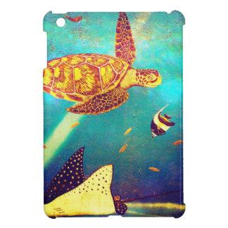 Étui iPad Mini Peinture colorée de tortue de mer d'océan bleu