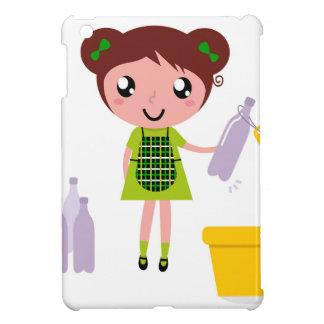Étui iPad Mini Petite fille artistique avec la bouteille