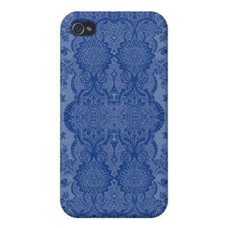 Étui iPhone 4/4S Floral vintage de dentelle dans le bleu moyen
