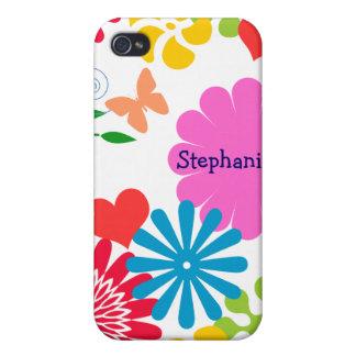 Étui iPhone 4/4S Le ressort coloré Floral-Personnalisent le nom