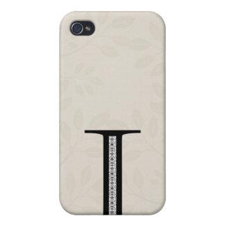 Étui iPhone 4/4S Lettre I de damassé - noir