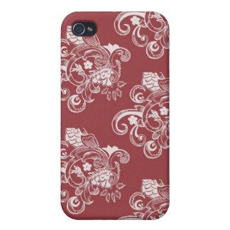 Étui iPhone 4/4S Motif floral vintage rouge et blanc
