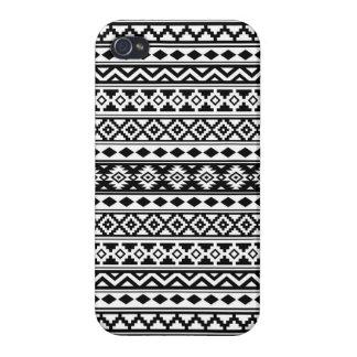 Étui iPhone 4/4S Noir et blanc aztèques d'IIb de motif d'essence