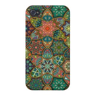 Étui iPhone 4/4S Patchwork vintage avec les éléments floraux de