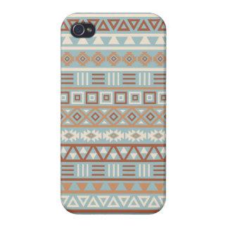 Étui iPhone 4/4S Terres cuites crèmes bleues de motif aztèque