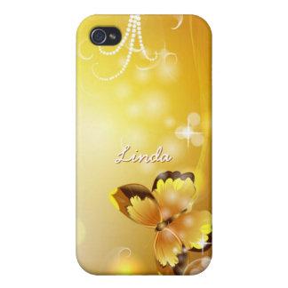 Étui iPhone 4/4S Très personnalisé jaune, papillon et bulles