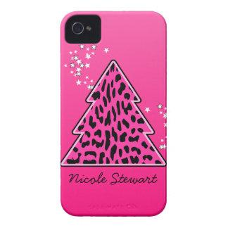 Étui iPhone 4 Arbre de Noël rose de guépard de léopard