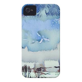 Étui iPhone 4 Ciel coloré d'horizon d'abrégé sur bleu d'hiver