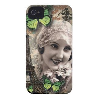 Étui iPhone 4 fille gatsby vintage de papillon vert d'art déco