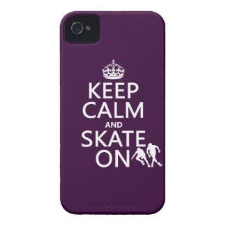 Étui iPhone 4 Gardez le calme et patinez sur (les rollerskaters)