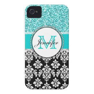 Étui iPhone 4 Girly, turquoise, damassé noire de parties