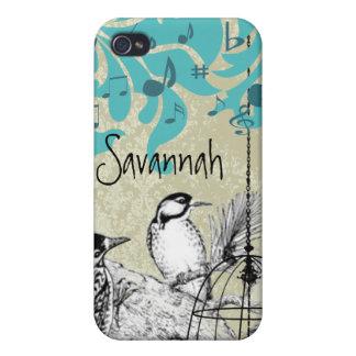 Étui iPhone 4 iPhone noir de damassé de cage à oiseaux de