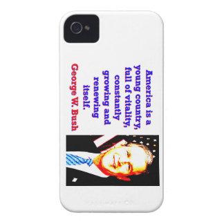 Étui iPhone 4 L'Amérique est un jeune pays - G W Bush