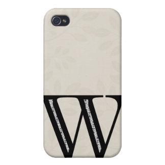 Étui iPhone 4 Lettre W - noir de damassé