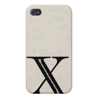Étui iPhone 4 Lettre X de damassé - noir