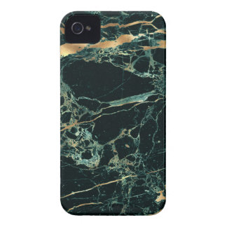 Étui iPhone 4 Marbre de PixDezines, vert de Teal + Veines d'or