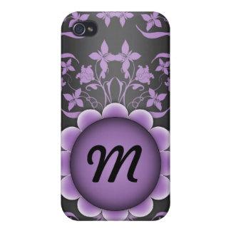 Étui iPhone 4 Monogramme pourpre et noir de damassé