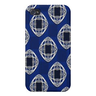 Étui iPhone 4 Motif vérifié par Nouveau de bleu de cobalt