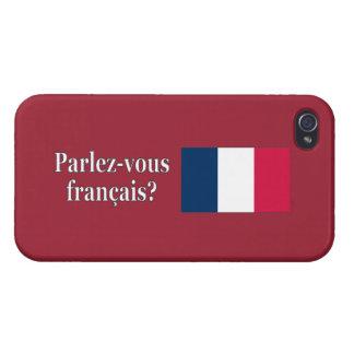 Étui iPhone 4 Parlez-vous français ? en français. Wf de drapeau