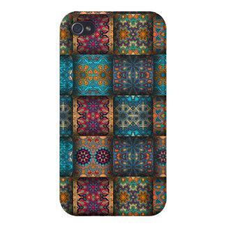 Étui iPhone 4 Patchwork vintage avec les éléments floraux de