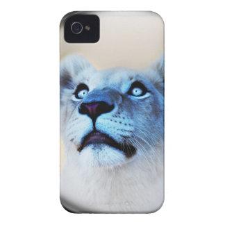 Étui iPhone 4 Regard blanc de lion de fin de surprise