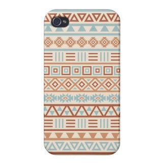 Étui iPhone 4 Terres cuites aztèques de bleu de crème de motif