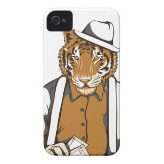 Étui iPhone 4 tigre humain avec des cartes de jeu