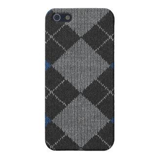 Étui iPhone 5 Bleu et Jacquard gris Pern de Knit