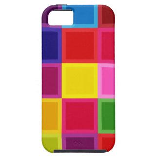 Étui iPhone 5 Carrés multi et rayures colorés Girly