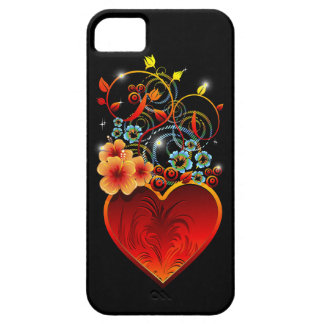Étui iPhone 5 Cas floral de l'iPhone 5 d'amour de coeur de