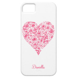 Étui iPhone 5 Cas rose de l'iPhone 5/5s de coeur d'amour de