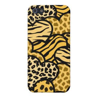 Étui iPhone 5 Coeurs girly jaunes et noirs de poster de animal
