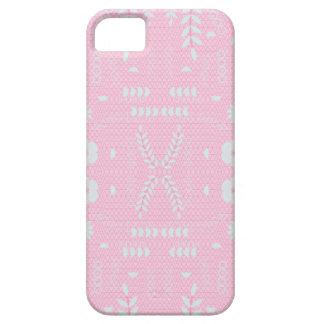 Étui iPhone 5 Conception géométrique de motif de fleurs - rose