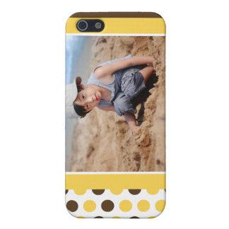 Étui iPhone 5 Coutume de photo de Polkadot (jaune)