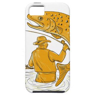 Étui iPhone 5 Dessin tournoyant de truite de pêcheur de mouche