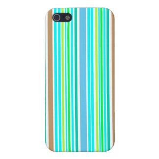 Étui iPhone 5 Le vert bleu et le ressort de Brown barre la