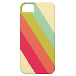 Étui iPhone 5 Les rayures lumineuses de rétro arc-en-ciel ont
