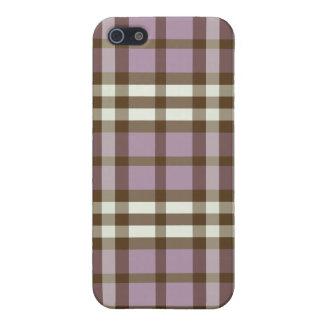 Étui iPhone 5 lilas de cas de l'iPhone 4/motif brun chocolat de