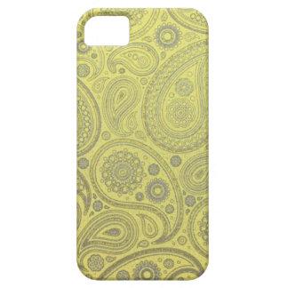 Étui iPhone 5 Motif jaune de Paisley de tissu
