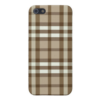 Étui iPhone 5 Taupe de cas de l'iPhone 4/motif plaid de chocolat