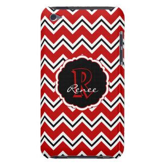 Étui iPod Touch Caisse noire blanche rouge de Chevron iPod 4g de