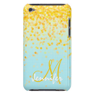 Étui iPod Touch Jaune assez girly et d'or, turquoise OM de