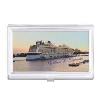 Étui Pour Cartes De Visite Aube de Nassau avec le bateau de croisière
