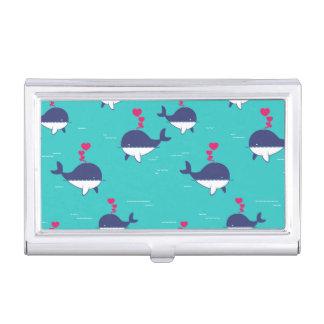 Étui Pour Cartes De Visite Conception de baleine bleue avec des coeurs