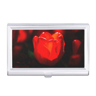 Étui Pour Cartes De Visite Fleur rouge de tulipe - le feu